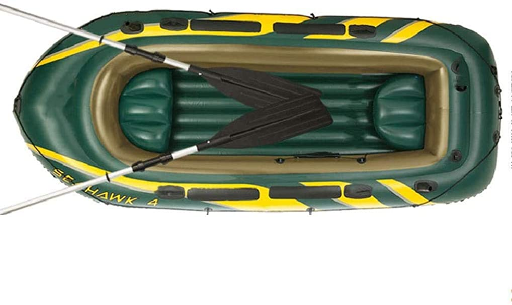 非常に怒っています解放空いている釣り用ゴムボート 多機能インフレータブルボート、インフレータブルボトムフロアとアルミニウムオールを備えた2?4人のPVC釣りボート、釣り竿ブラケットと滑り止めパッドポンツーンボート、サポートインストールエンジン,Medium