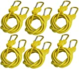 Bungee Cord with Carabiners Super Long 60' | 6 Pack UV Treated with Superior Latex Core which Lasts Longer than Flat Bungees | Strong Wide Mouth Hook Locks onto Anchor Points with Ease (Black)