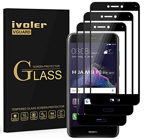 ivoler [3 Unidades] Protector de Pantalla para Huawei P8 Lite 2017, [Cobertura Completa] Cristal Vidrio Templado Premium, [Dureza 9H] [Anti-Arañazos] [Sin Burbujas]