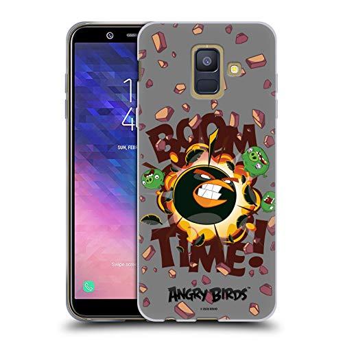 Offizielle Angry Birds Boom Time Schluessel Kunst Soft Gel Handyhülle Hülle Huelle kompatibel mit Samsung Galaxy A6 (2018)