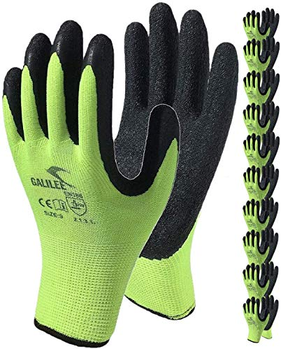 Work Gloves for Men and Women, Coated Safety Gloves for Work, 10-Pair Pack, Water-Based Latex Rubber Firm Grip Coating ( Size Large Fits Most, Green )