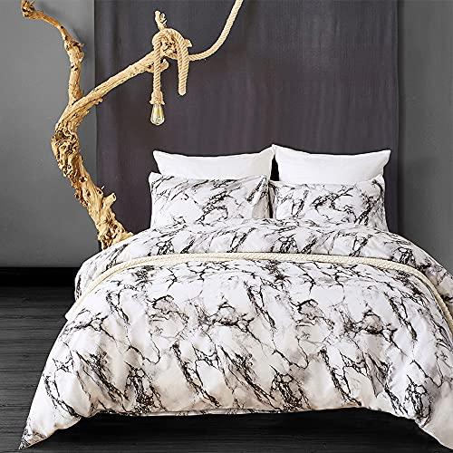 Lekesky Marmor Bettwäsche Set 2 Teilig - 135x200 Bettbezug + 80x80 Kissenbezug, Mikrofaser Bettwäsche mit Reißverschluss und Ecke Krawatten (schwarz und weiß)