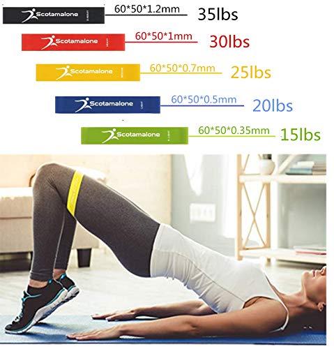 Scotamalone Widerstandsbänder/Übungsbänder / Workout Bänder, 5 Stück, perfekt für Zuhause, Fitnessstudio, Fitness, Yoga