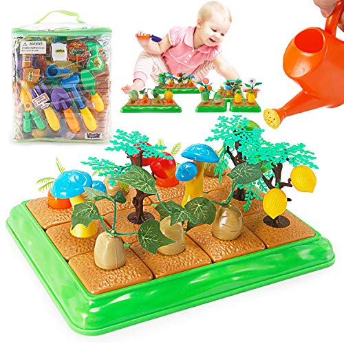 Price comparison product image Grow Your Own Little Garden Toy Building Playset - Growing Vegetables Farming Educational Activity for Kids - Includes Plastic Gardening Tools,  Crops,  Fruits,  and Accessories (96 Pieces)
