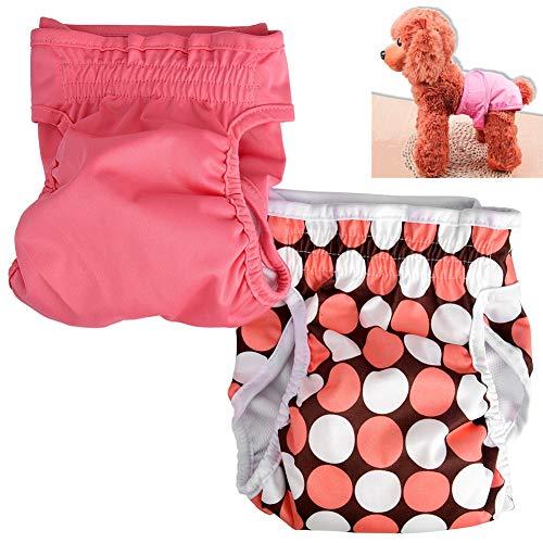 PEIUJIN 2er Pack weiblich Hund Windel wiederverwendbar waschbar Langlebig Hund Windeln Hose (Size M)