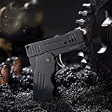 Mechero electrónico de metal de doble fuego, pistola de deformación de gas butano, antorcha de fuego, resistente al viento, disco de...