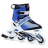 Patines en línea para niños de SMJ, tamaño ajustable, ruedas 82A, rodamientos de carbono ABEC7, patines de fitness ajustables para niños, color azul (M (34-37))