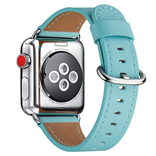 WFEAGL Strap Compatible with Strap 38mm 40mm,Many Colours of Leather Band Replacement Strap Compatible with Series 5/4/3/2/1, (38mm 40mm,Tiffany Blue Band+Silver Adapter)