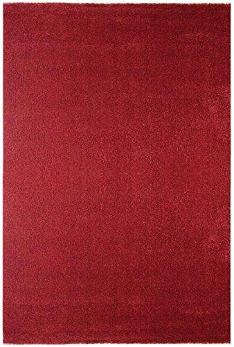 havatex Moderner Teppich Samoa Uni - Orange oder Rot | schadstoffgeprüft pflegeleicht schmutzabweisend | Wohnzimmer Schlafzimmer, Farbe:Rot, Größe:80 x 150 cm