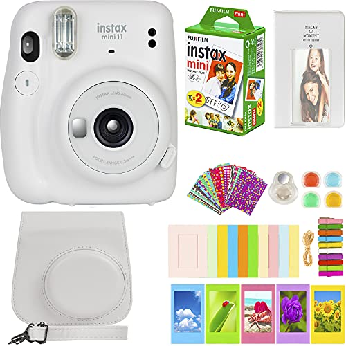 Fujifilm Instax Mini 11 Camera with Fujifilm Instant Mini Film (20 Sheets) Bundle with Deals Number One Accessories Including Carrying Case, Color Filters, Photo Album, Stickers + More (Ice White)