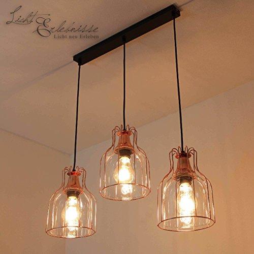 Effektvolle Hängeleuchte in Kupfer Vintage Design 3x E27 bis zu 60 Watt 230V aus Glas & Metall Küche Esszimmer Pendelleuchte Hängelampe Pendellampe innen
