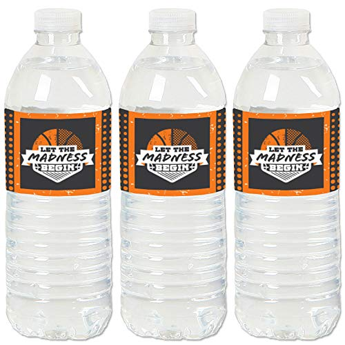 Big Dot of Happiness Basketball – Let the Madness Begin – College Basketball Party Wasserflasche Aufkleber Etiketten – Set von 20