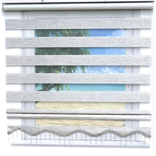 Doppelrollo Meliert Oregon Duorollo Gardinen Fenster Tür Rollo 160 x 200 cm Zebra Rollos Klemmfix Rollo Grau Meliert