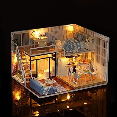 Blusea DIY Häuser für Minipuppen, Miniatur Loft Dollhouse Kit lebensechte Mini 3D Holzhaus Zimmer handgemachtes Spielzeug mit Möbel LED-Leuchten Valentinstag Weihnachten Geburtstagsgeschenk
