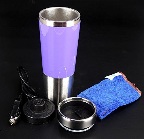 Tazza di riscaldamento elettrica in acciaio inox 450ml, 12V DC, usata per presa accendisigari in auto, regalo di festa, Fare il caffè, bevande calde in auto per viaggiare