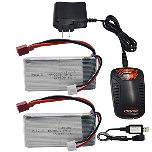 Blomiky 2 Pack 7.4V 1700mAh 12.58Wh Lipo Battery with T Plug and Charger for 1:10 Scale 9200 9200E 9205E 9206E RC Truck 7.4V 1700mAh 2