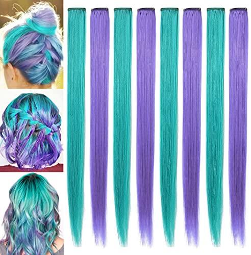 ECOCHARMS 8PCS 21''Pezzi di parrucca verde acqua e viola Clip in estensioni dei capelli colorati per ragazze Punti salienti delle feste colorate Posticci sintetici a più colori per bambini