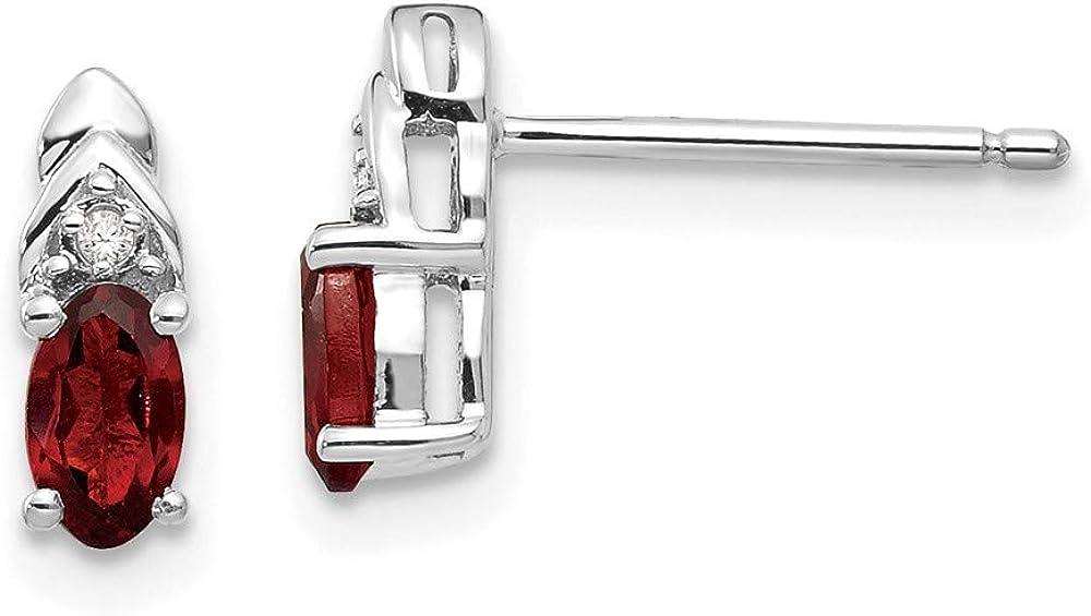 14k White Gold Red Garnet Diamond Post Stud Earrings Drop Dangle Birthstone January Fine Jewelry For Women Gifts For Her