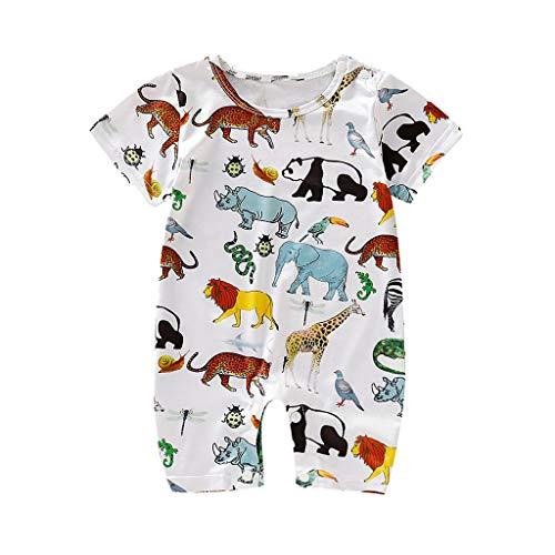 MAYOGO Ropa Bebe Unisex Mameluco Manga Corta Bebe Body Camiseta Estampado Animales Mono Pijama para Bebe Pelele O Cuello Bodis Ropa Bebe Recien Nacido Verano 2019