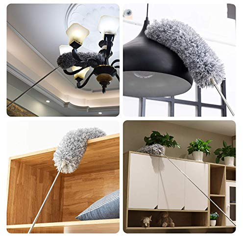KPOKPO 2021 NEW -Microfiber Duster with 100 Inches Extendable Pole, Detachable & Bendable Feather Duster, Stainless Steel, Extra Long Telescopic, Perfect for Cleaning Cobweb,Cleaning Roof, Ceiling Fan