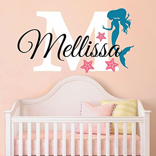 """Nursery Mermaid Personalized Custom Name and Initial Wall Decal Sticker 18"""" W by 12"""" H, Girl Name Wall Decal, Girls Name, Mermaids Wall Decor, Girls Decor, Girls Bedroom, Plus Free Hello Door Decal"""