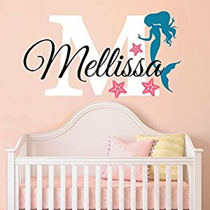 Nursery Mermaid Personalized Custom Name and Initial Wall Decal Sticker, Girl Name Wall Decal, Girls Name, Mermaids Wall Decor, Girls Decor, Girls Bedroom, Plus Free Hello Door Decal