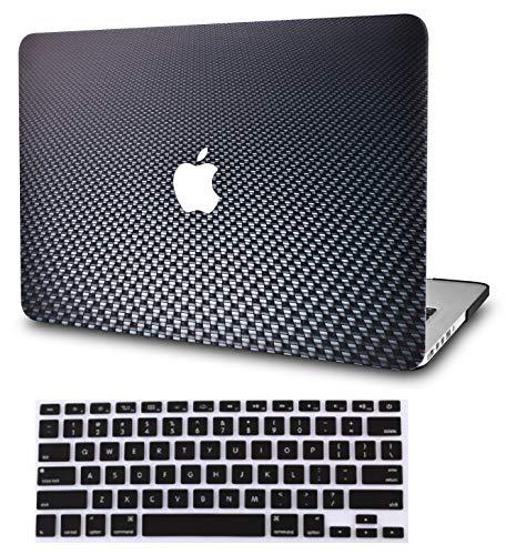 KECC Laptop Case for Old MacBook Pro 13' Retina (-2015) w/Keyboard Cover Plastic Hard Shell Case A1502/A1425 2 in 1 Bundle (Black Carbon Fiber)