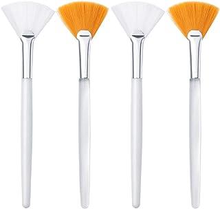 4 Pcs Facial Brushes Fan Mask Brush, Soft Applicator Brushes Makeup Tools for Peel Mask Makeup (Yellow)