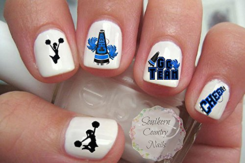 Cheer Cheerleader Cheerleading Blue/Black Design Nail Art Decals