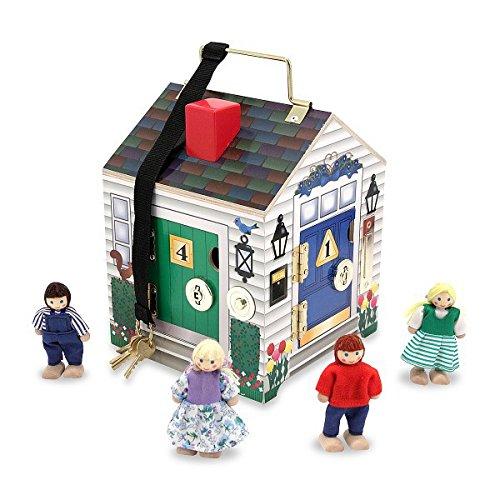 Melissa & Doug houten huis met deurbel en speelfiguren (5 delen)