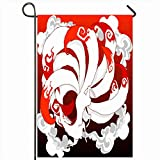 Onete Garden Flag 12x18 Inches Free Wild Mascot Nine Red Moon Tail Design Fly Japan Fox Miscellaneous Clouds Fantasy Animal City Outdoor Seasonal Home Decor Welcome House Yard Banner Sign Flags