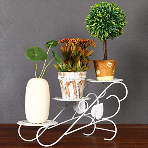 WSY Soporte de Flores de Metal con Flores, Hierro Forjado Pastoral Europeo Multicapa para Oficina en casaWSY