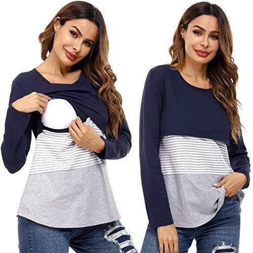 Akalnny Camisa de Lactancia Amamantar Mujer Manga Larga Ropa de Premamá Mujer Algodón Camiseta de Embarazada
