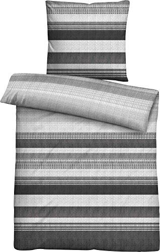 biberna 0636033 Mako-Satin Bettwäsche Garnitur mit Kopfkissenbezug (Baumwolle) 1x 135x200 cm + 1x 80x80 cm, Titanium