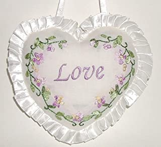 Giftco, Inc Set of 2 Heart-Shaped ~ Love ~ Lacey Embroidered Door Knob Pillows