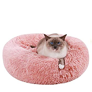 HACHIKITTY Cat beds Indoor Cats Large Faux Fur Cat Beds Medium Calming Cat Beds Machine Washable 20   Pink