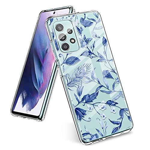 Yeriyerr Funda para Samsung Galaxy A52, ultrafina, transparente, flexible, de silicona TPU, antigolpes, antiarañazos, antigolpes, carcasa trasera [diseño de flores] para Samsung A52 (D)