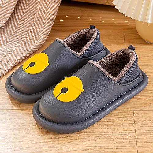 XZDNYDHGX Comodos Pantuflas Memory Foam Invierno,Winter Plus Cashmere Keep Warm Zapatillas de algodón para Mujer, Zapatos Impermeables Antideslizantes para Mujer Gris Oscuro EU 39-40