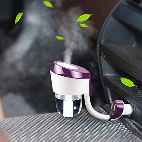Car Diffuser,Car Humidifier,12V Mini Car Aromatherapy Diffuser,Cool Mist Car Air Purifier with 2 USB Charger 360 Degree Rotation, Portable Car Essential Oil Diffuser, Car Diffuser Filters【Purple】