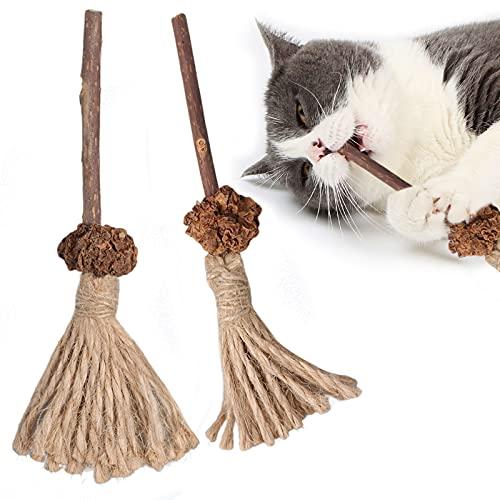 猫用ミントボールおもちゃ、猫の歯ぎしりスティック、キティの歯のクリーニング用の天然シルバーつるスティック、100%自然安全無添加のおもちゃ、肥満の除去、消化を助け (2つセット)