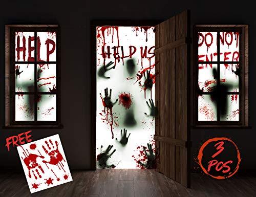 """KD KIDPAR 3Pcs Halloween Window Door Decoration Covers Set, Includes 2Pcs 60x30"""" -"""