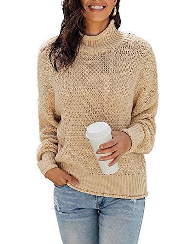 Sudaderas Cuello Cisne para Mujer Señoras Suéter de Punto con Manga Larga Ocio Elegante Jersey Pullover Tops Albaricoque L