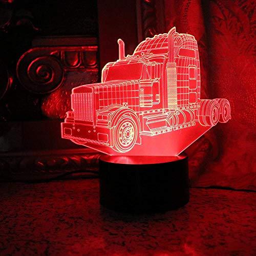3D Led Luz De Noche Decoración Tabla Lámpara De Escritorio Coche 7 Colores Cambio De Botón Táctil Y Cable Usb Navidad Cumpleaños Regalo