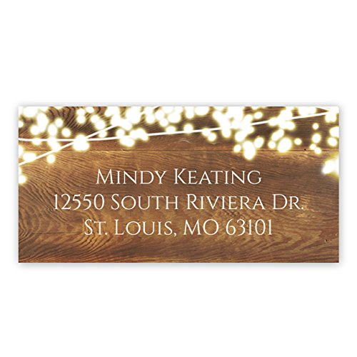 Rustic Lights Self-Adhesive Rectangle Address Labels/Personalized Labels/Minimum Quantity 96 Stickers