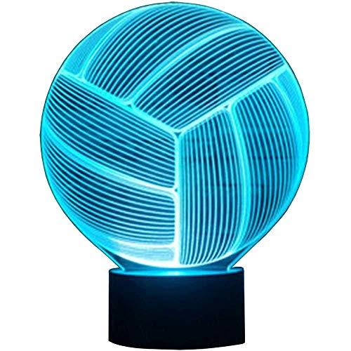 BZL POP Lámpara de Voleibol 3D USB Power 7 Colores Increíble ilusión óptica 3D Grow LED Lamp Shapes Dormitorio Infantil Luz Nocturna.