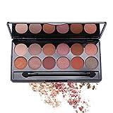 Paleta Profesional de 12 Sombras de Ojos Shimmers y Paletas de Eyeshadow Palette Desnudas Mate Paleta de Maquillaje Resistente al Sudor Impermeable de Larga Duración
