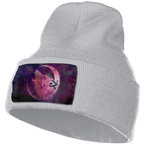 Hdadwy Wolf Space Moon Wolves in Starry Night Sky Hombres Mujer Gorros de Punto Sombreros de Punto cálidos de Invierno