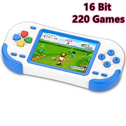 ZHISHAN 16 Bit Handheld Spielkonsole Retro Tragbare Spiele Konsolen inkl. 220 Klassische Vintage Video Spielen 3.0 LCD HD Bildschirm Arcade Erholung System Geburtstags Geschenk für Kinder-Blau