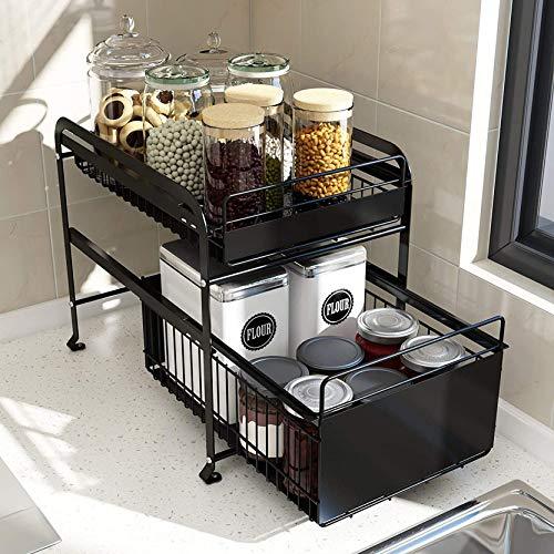 Debajo del estante del fregadero,cajón deslizante extraíble de 2 niveles,organizador de almacenamiento multiusos,baño multiusos debajo,organizador de almacenamiento ordenado,estante para fregadero