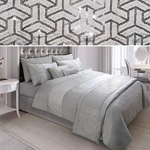 N/A Sequin Diamante Quilt Duvet Cover Set Bedding Linen Silver Grey (02-05) (Double)